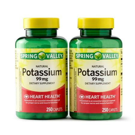 Spring Valley Potassium Caplets, 99 mg, 250 Ct, 2 Pk (Multi Mineral Supplement Caplets)