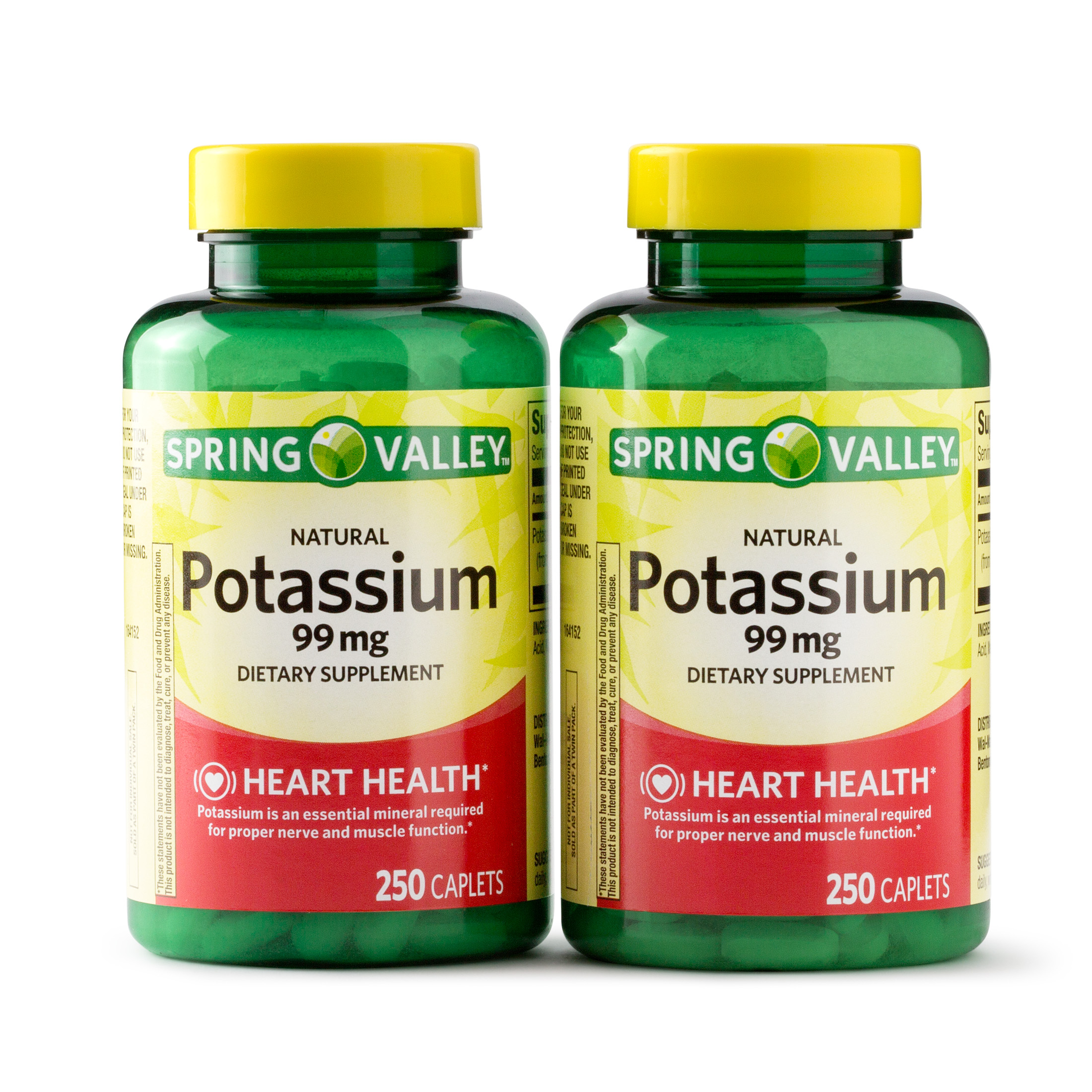 Spring Valley Potassium Caplets, 99 mg, 250 Ct, 2 Pk