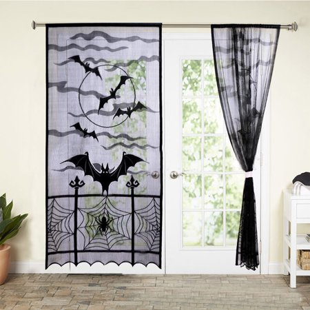 Halloween Bats Spider Web Curtains Cobweb Black Lace Festival Window Door
