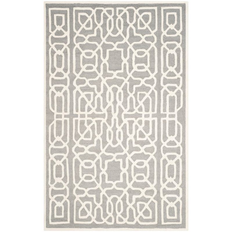 Safavieh Cambridge 6' X 9' Hand Tufted Wool Rug in Silver and Ivory - image 4 de 10