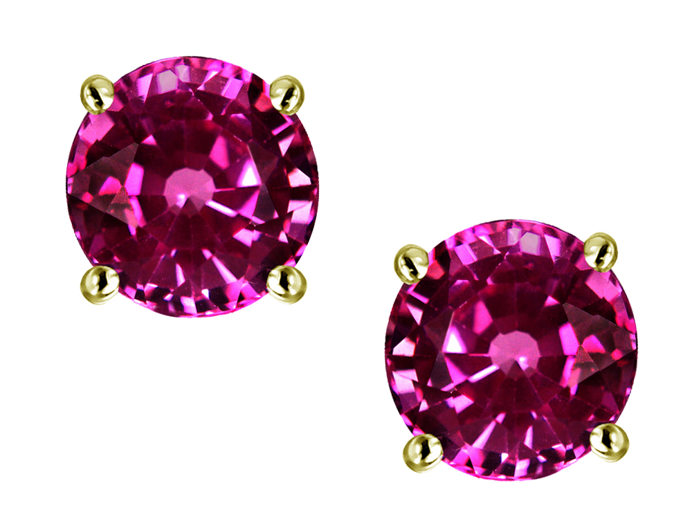 Star K Round 7mm Simulated Pink Tourmaline Screw Back Stud Earrings in 14 kt Yellow Gold by