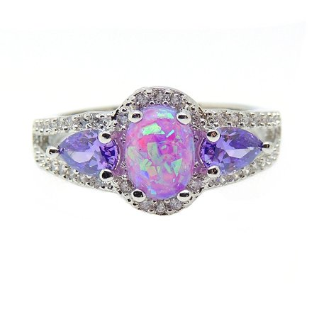 Chelsey Purple Oval Shape Lab Created Fire Opal CZ Ring - Ginger Lyne Collection