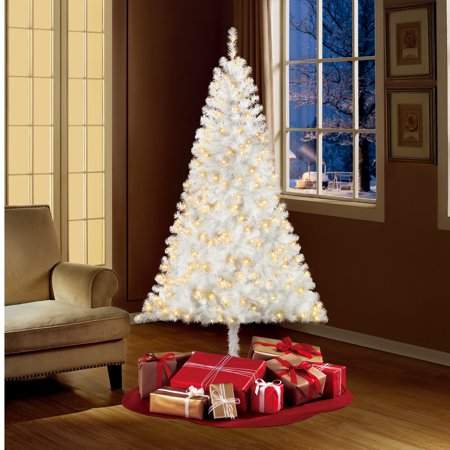 Holiday Time Pre-Lit 6.5' Madison Pine White Artificial Christmas Tree, Clear-Lights ()