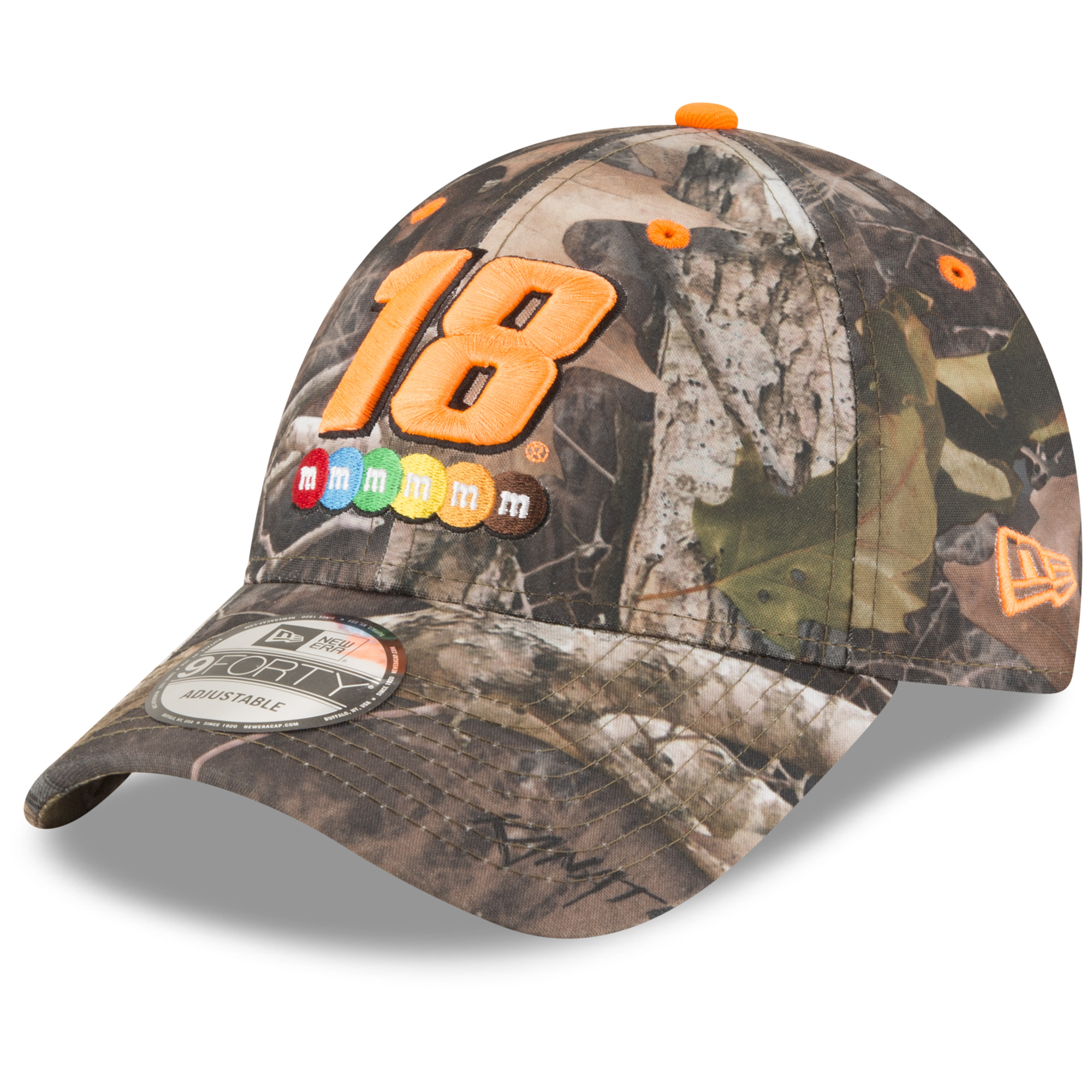 Kyle Busch New Era All Over Camo 9FORTY Adjustable Hat - Camo/Orange - OSFA