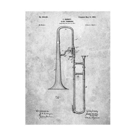 - Slide Trombone Instrument Patent Print Wall Art By Cole Borders