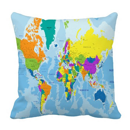 Average Throw Pillow Sizes : PHFZK Educational Pillow Case, Colorful World Map Pillowcase Throw Pillow Cushion Cover Two ...