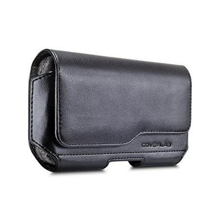 LG Stylo 4 / Q Stylus Pouch Case, [XL Size] [Belt Holster] Sideways Leather Holster Carry Pouch Case (Fits the Phone with Thick Protective Cover on)