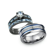His and Hers 3 pcs Stainless Steel Romatic Blue Theme Couple Rings Wedding Band