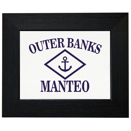 Outer Banks - Manteo, NC - Nautical Anchor Framed Print Poster Wall or Desk Mount
