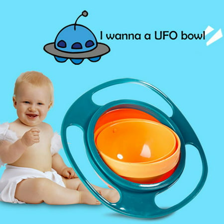 Baby Gyro Bowl 360 Dgree Rotation Spill Resistant Gyroscopic Bowl with Lid Toy Tableware for Kids Toddlers (Gyroscopic Bowl)