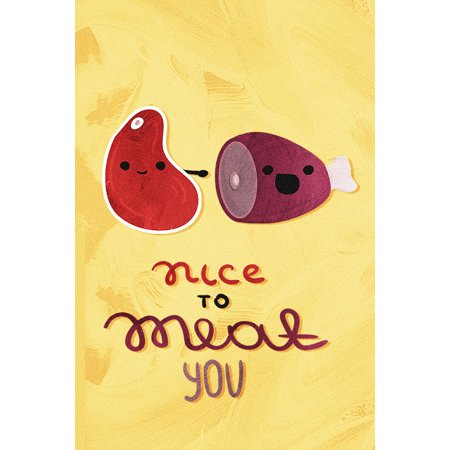 Nice to Meat You Kitchen Pun & Dining Fine Art Wall Decor Metal Large Signs, 12x18 ()