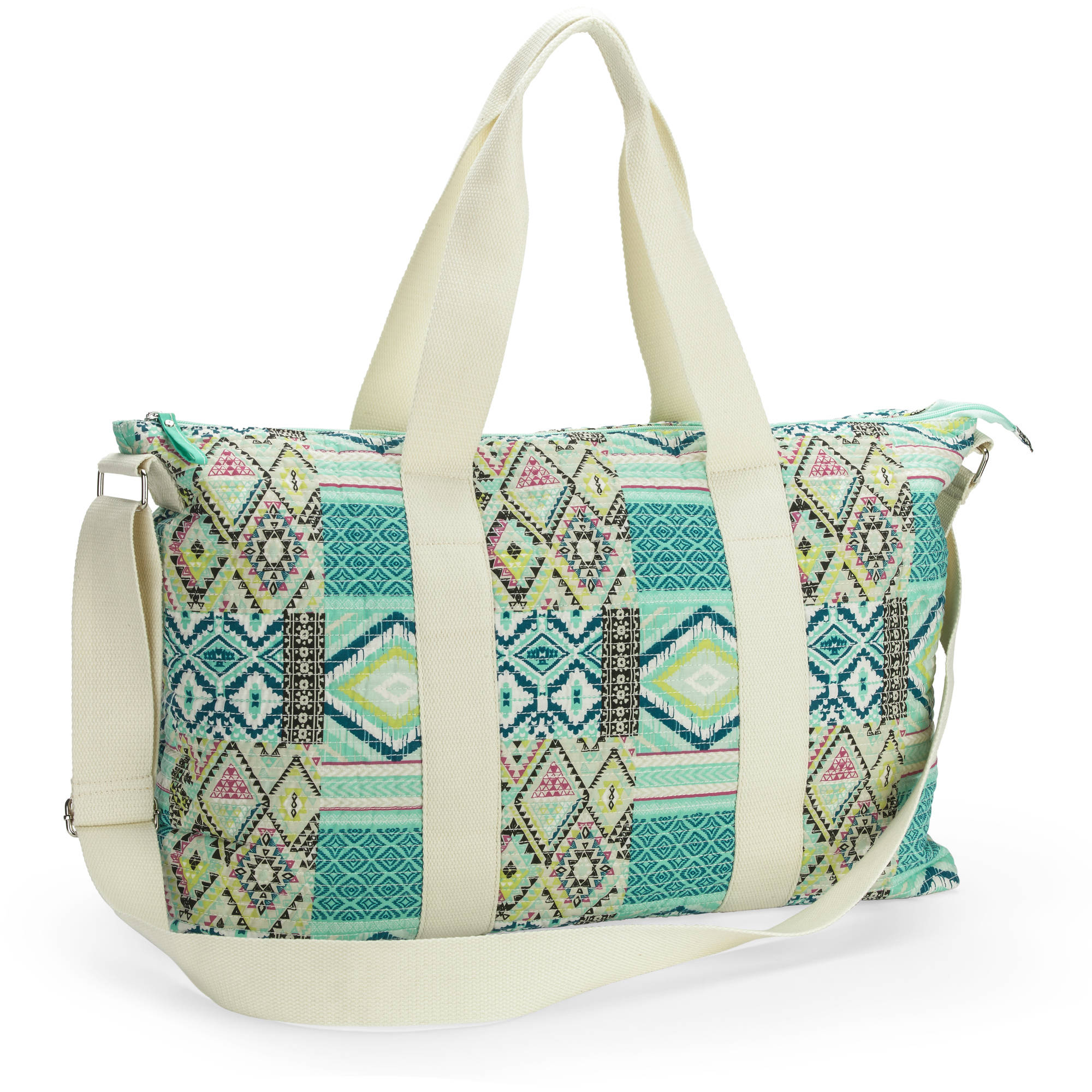 No Boundaries Women's Quilted Weekender Tote Handbag