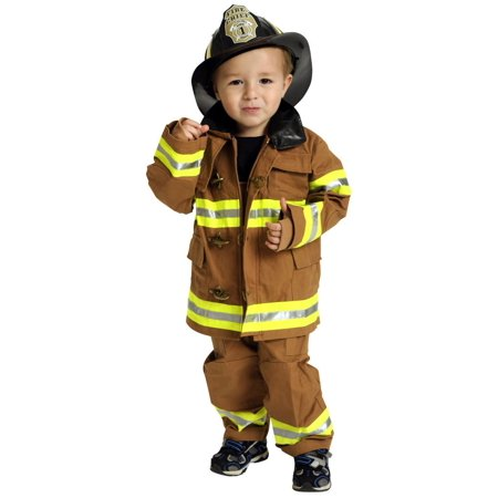 Jr. FIRE FIGHTER tan suit Fireman child boys kids career halloween costume 6 - 8
