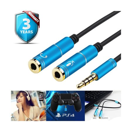 Headset Adapter Y Splitter 3 5mm Jack Cable with Separate Mic and Audio  Headp