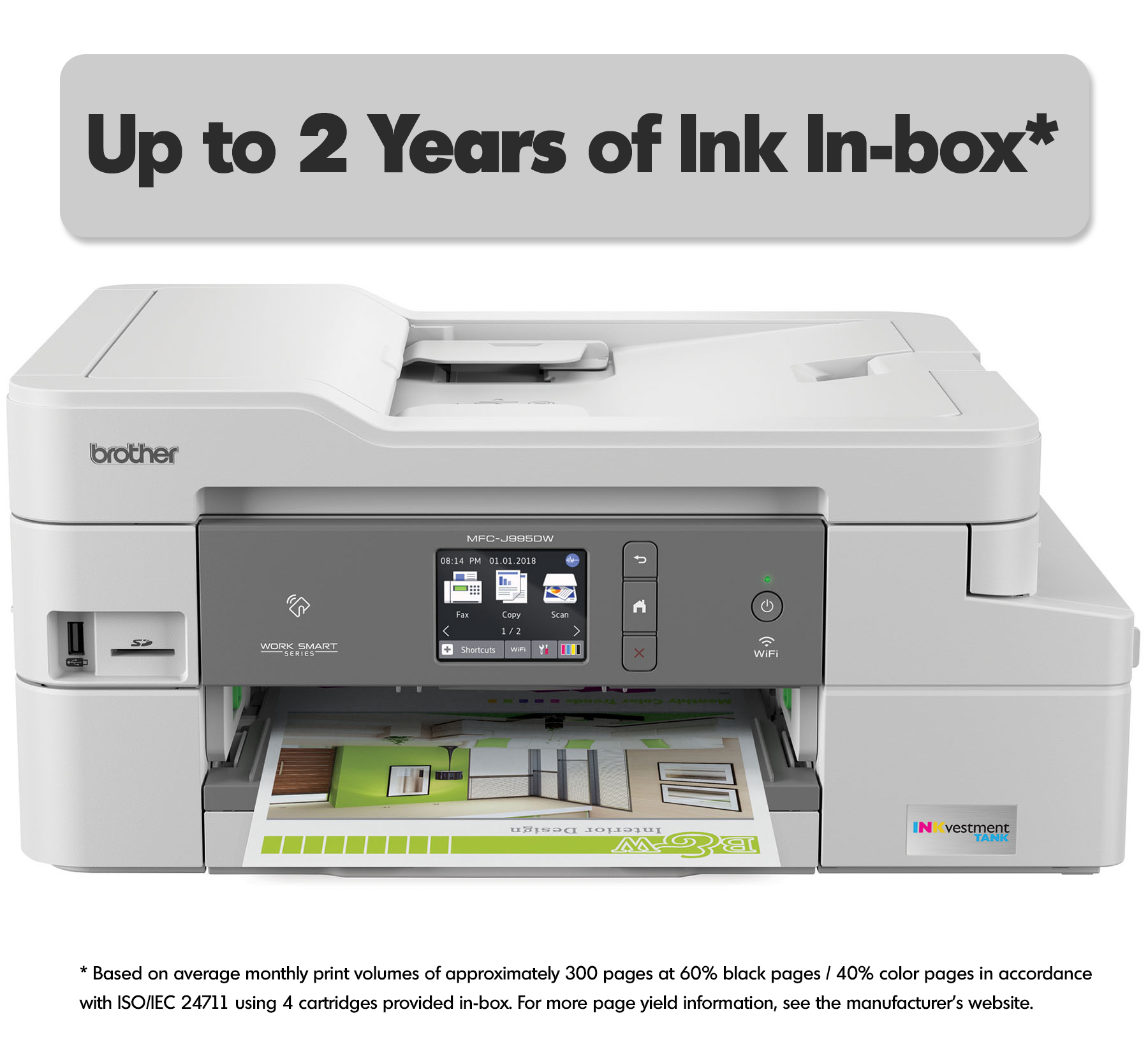 Brother MFC-J995DW XL INKvestment Tank Color Inkjet All-in-One Printer with Up to 2-Years of Ink In-box