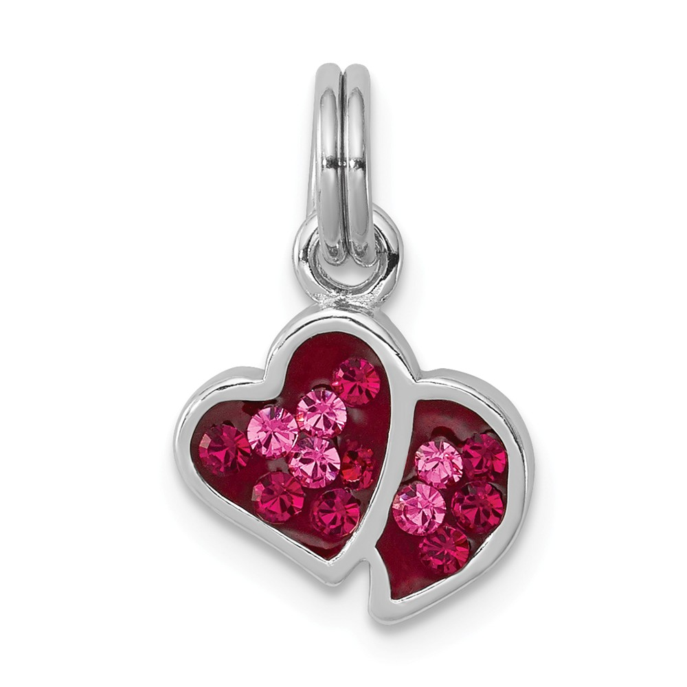 Sterling Silver Pink & Red CZ Hearts Charm (0.7in long x 0.4in wide)