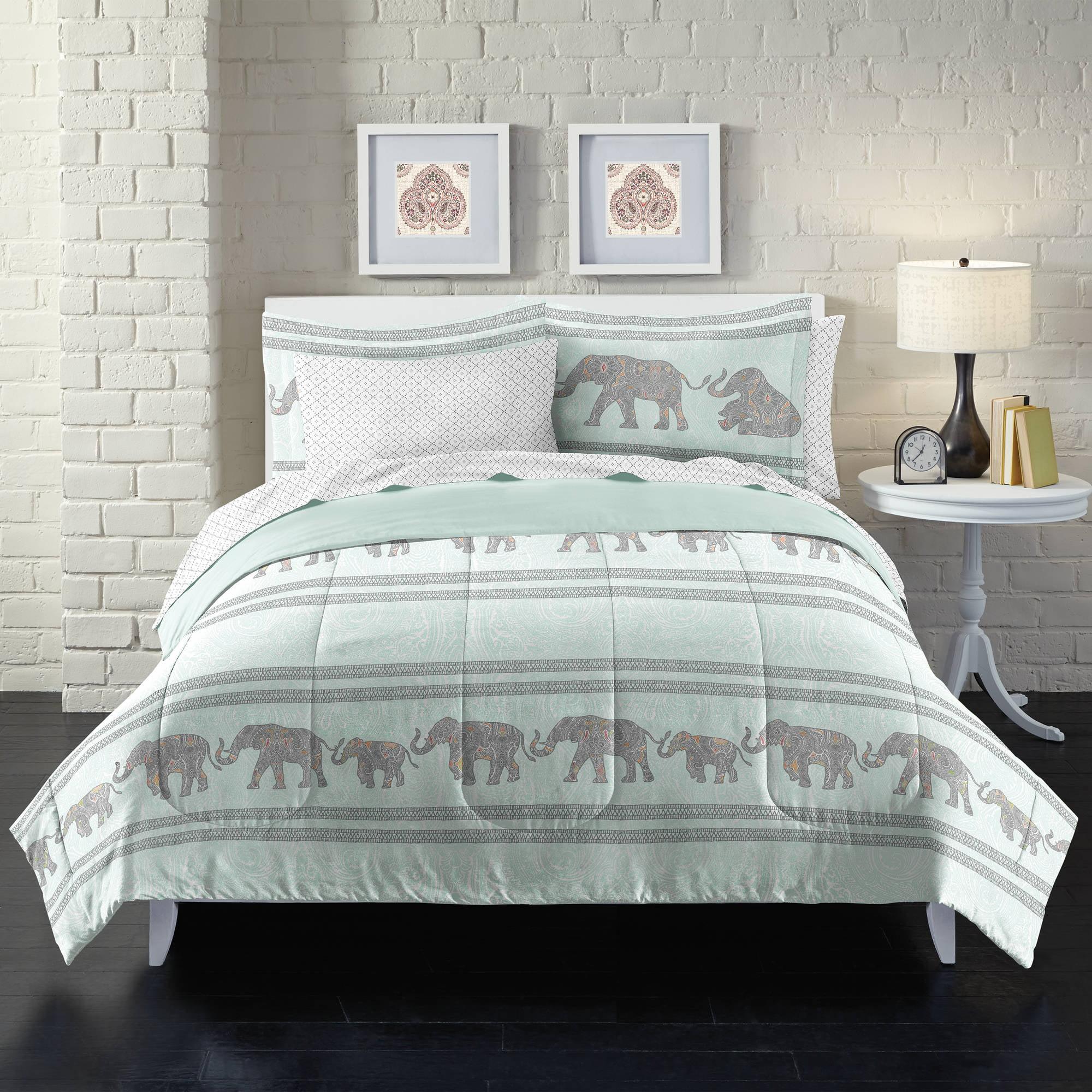 Loft Style Boho Elephant Bed In A Bag Comforter Set,Blue