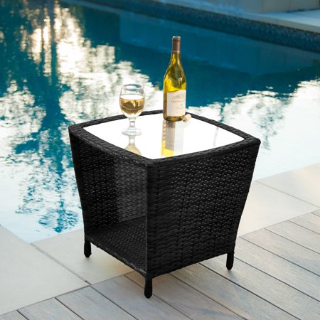 keenan outdoor black wicker side table with glass top. Black Bedroom Furniture Sets. Home Design Ideas
