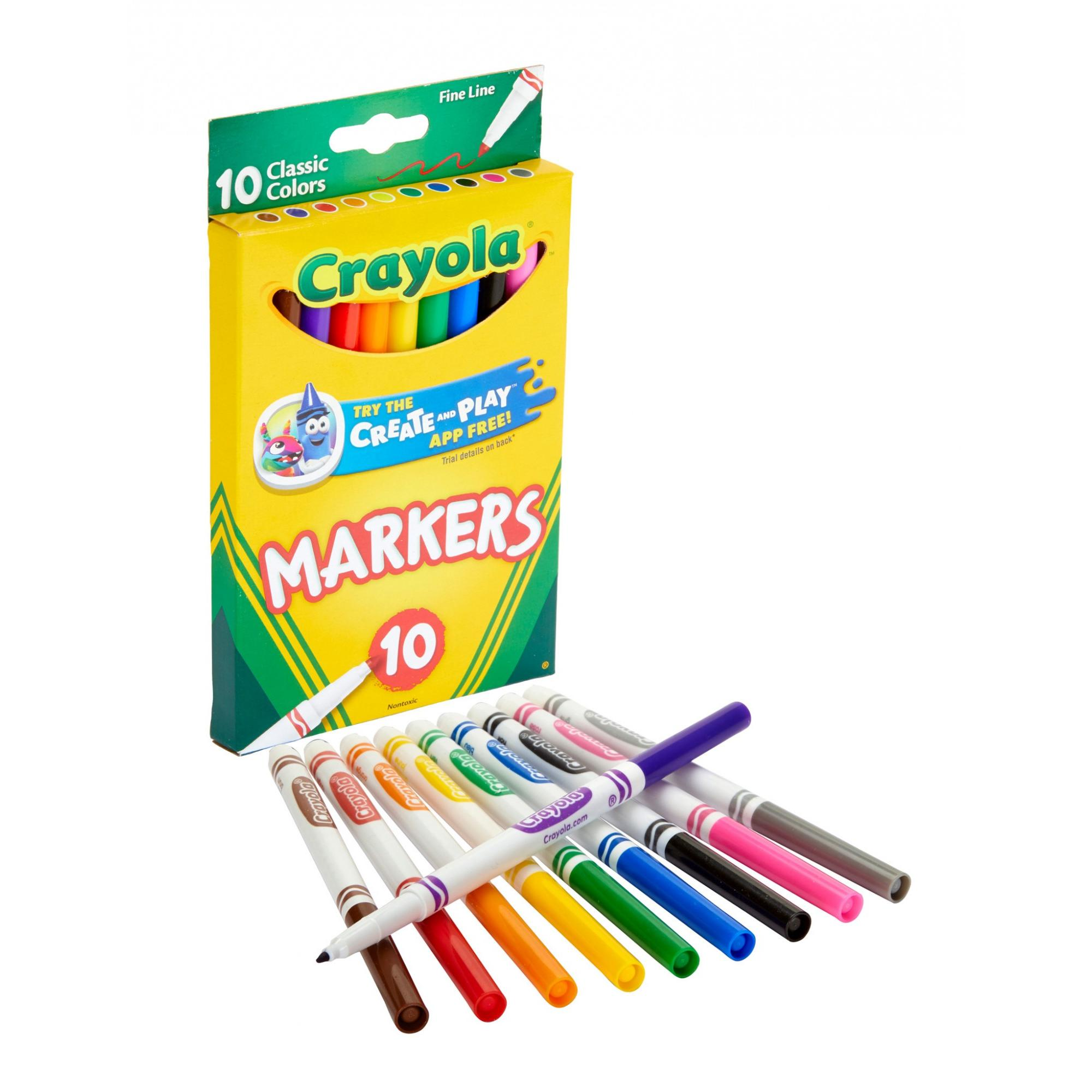 Classic Colors Crayola Fine Line Markers 10 Ct Pack of 24
