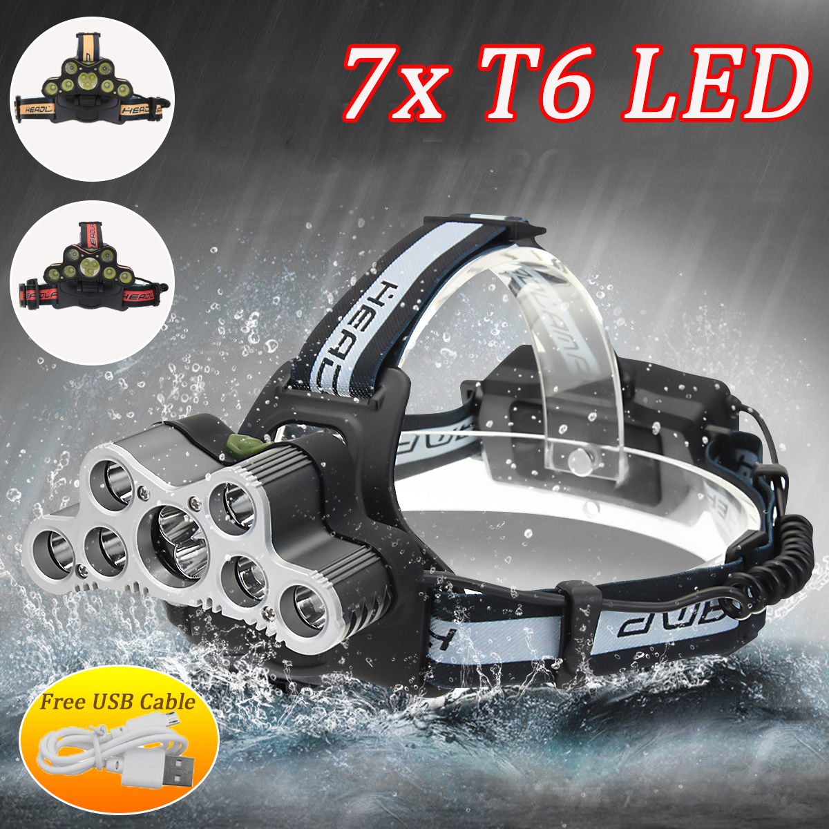 Elfeland 5000Lumens 7xT6 LED USB Rechargeable Headlight Headlamp Torch with SOS Help Whistle 6 Modes + USB Cable For Camping Hiking