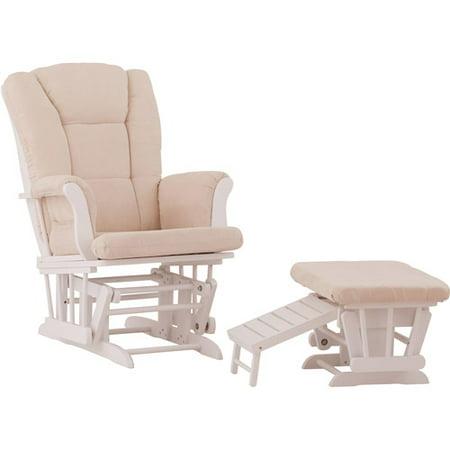 Status Veneto Glider and Ottoman White with Beige Cushions