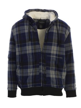 244055d04 Product Image Gioberti Mens Checkered Flannel Hoodie Jacket with Sherpa  Lining