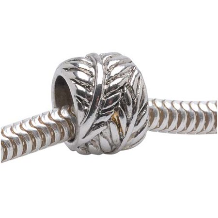 - Silver Tone European Style Large Hole Spacer Bead With Wrapped Leaf Design (1)