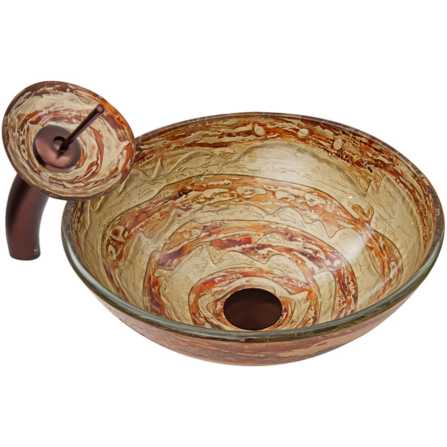 VIGO Mocha Swirl Glass Vessel Sink and Waterfall Faucet Set, Oil Rubbed Bronze Finish