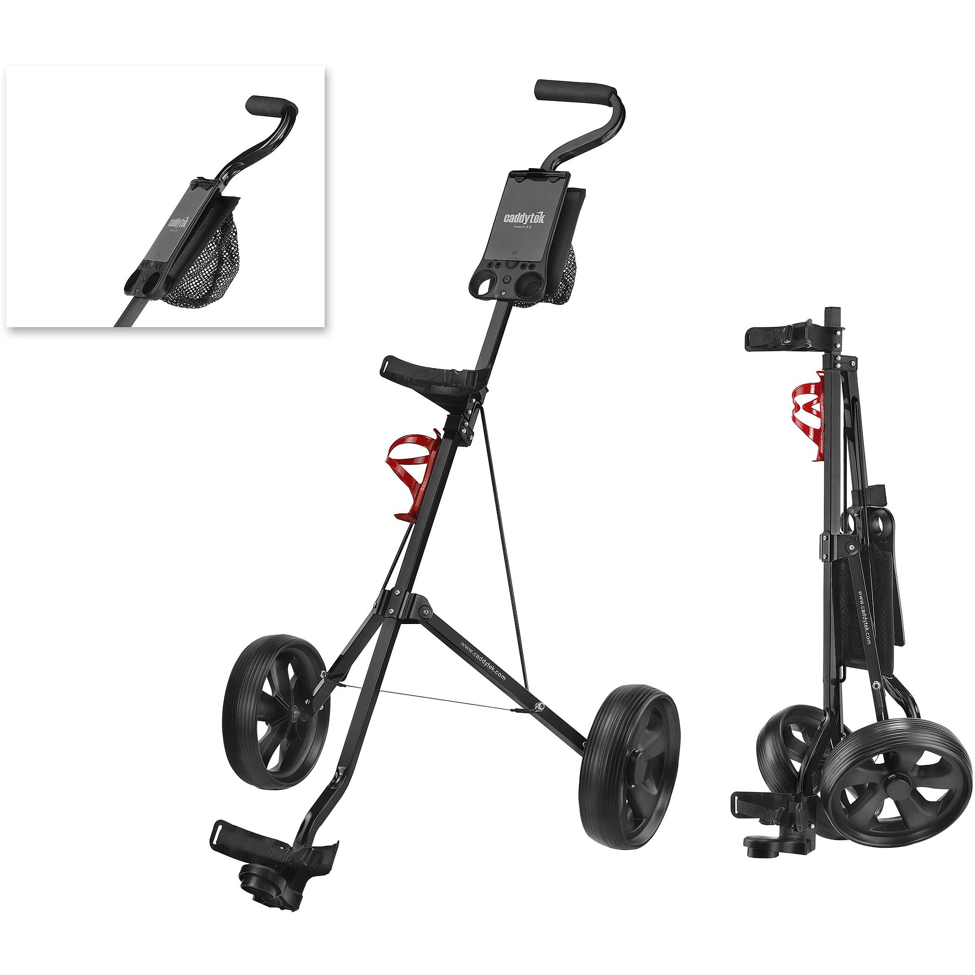 CaddyTek Deluxe 2-Wheel Pull Cart, Black
