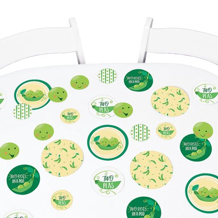 Double the Fun - Twins Two Peas in a Pod - Baby Shower Giant Circle Confetti - First Birthday Party Decorations - 27 Ct