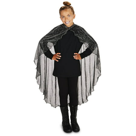 Black Spider Web with Hood Child Cape Halloween Accessory