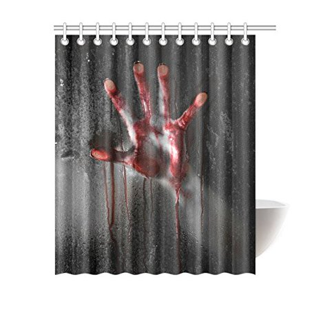 MKHERT Horror Scene with Bloody Hand Against Glass Home Decor Halloween Theme Waterproof Polyester Bathroom Shower Curtain Bath 60x72 inch](Halloween Bathroom Decor Ideas)