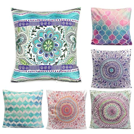 Meigar Boh o Style Decorative Throw Pillow Case Cushion Cover 18x18 inch Square Zipper Waist Pillowcase Pillow Protector Slip Cases Sham for Couch Sofa