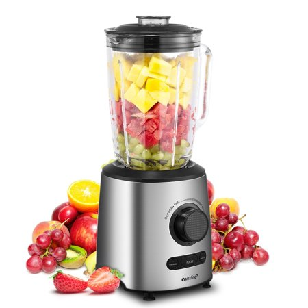 Comfee 500W Professional Smoothie Blender With 3 Preset Programs (Ice Crush, Pulse, Smoothie) Variable Speeds Control And 48 Ounce BPA Free Glass Jar (Silver)