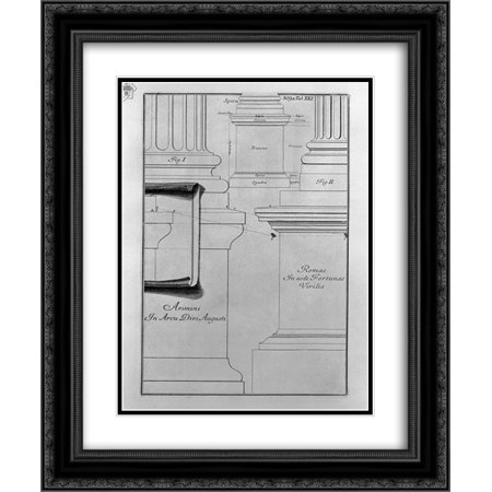 Giovanni Battista Piranesi 2x Matted 20x24 Black Ornate Framed Art Print 'Bases and pedestals (a simple outline) (Arch of Augustus at Rimini, Fortuna Virile)'