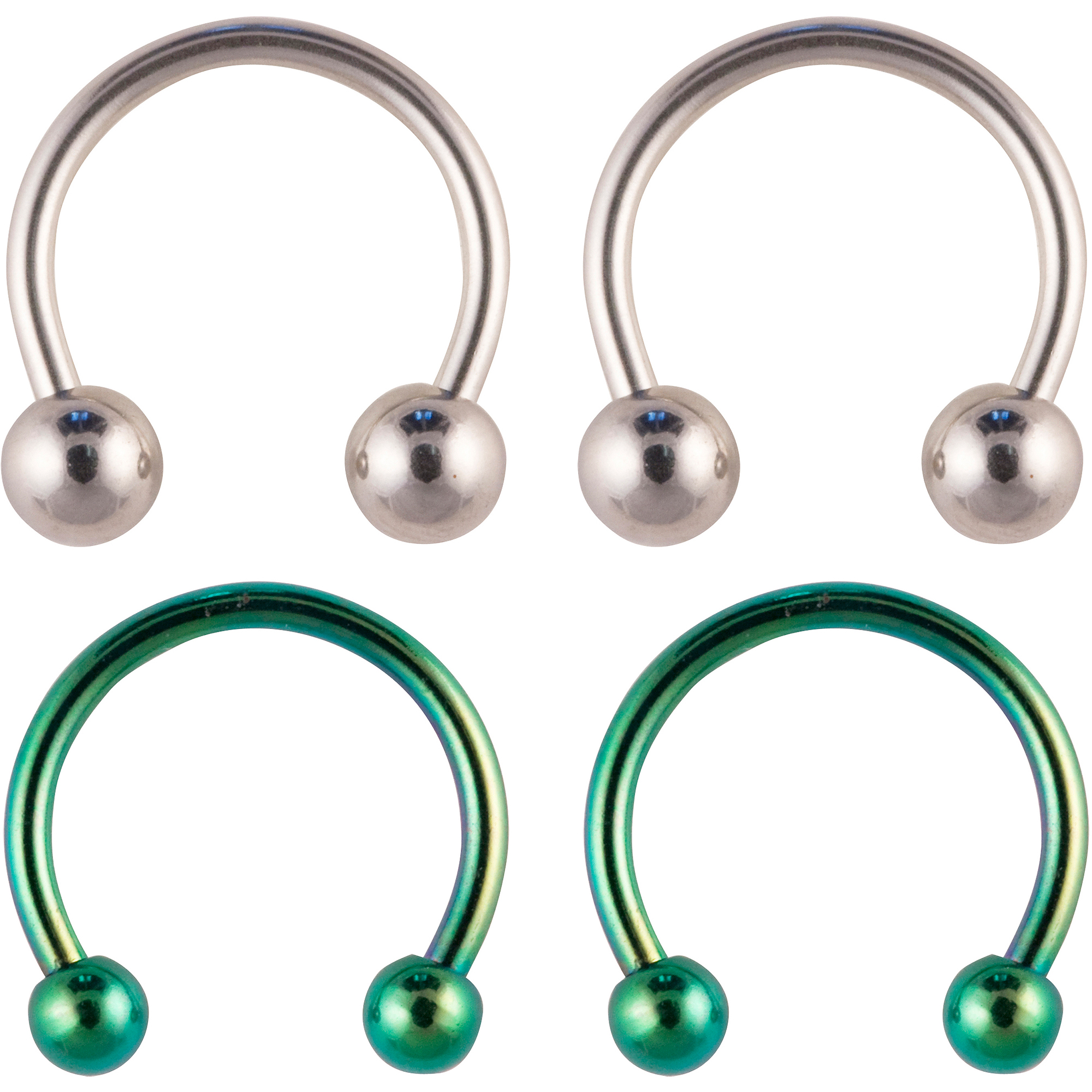 Hotsilver Body Jewelry 2 Pack - 16G Surgical Steel Horseshoes - Multi-Colored