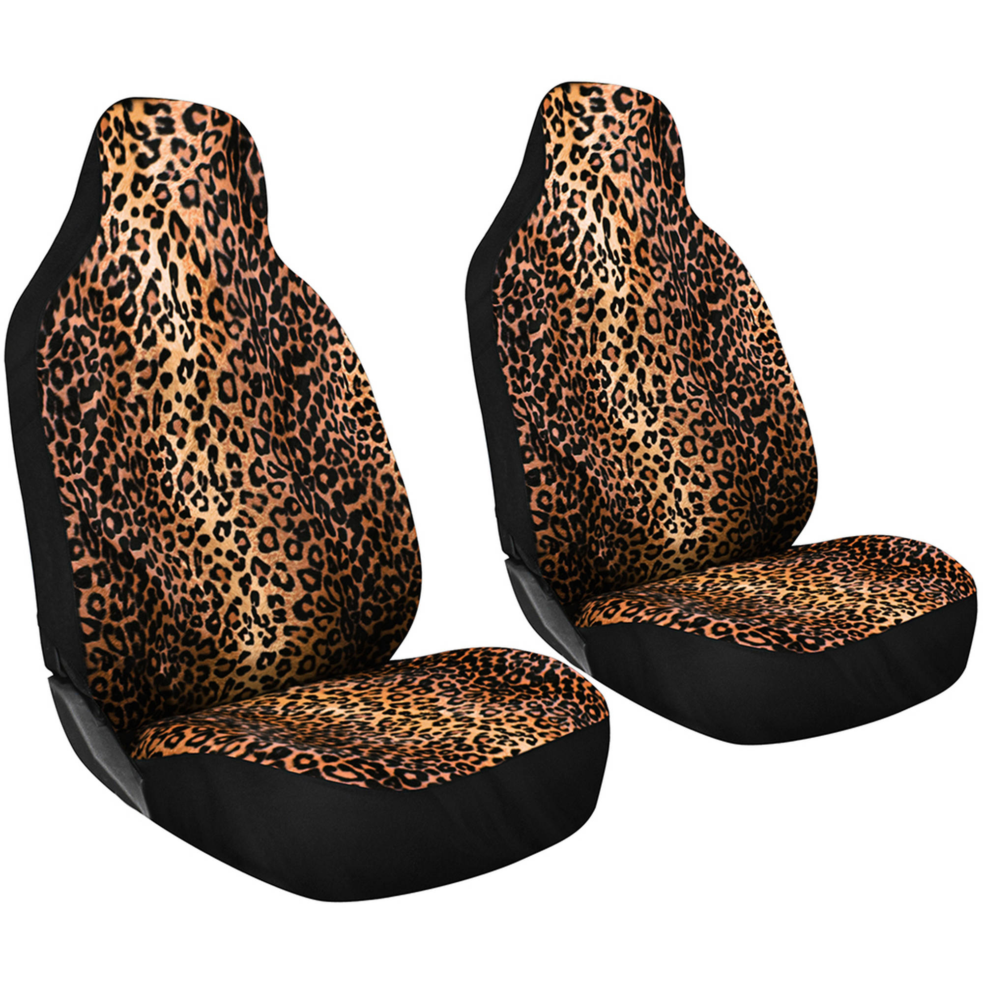 OxGord 2-Piece Set Leopard Animal Print Integrated High Back Bucket Seat Covers, Universal Fit for Car, SUV, Van & Trucks, Front Driver & Passenger Seats