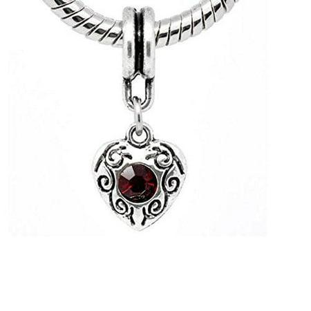 January Birthstone Heart Charm (Heart Dangle With Juanury Garnet Birthstone Charms for Snake Chain)