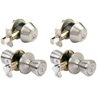 Brink's Keyed Entry Door Knob and Deadbolt Combo, Satin Nickel Finish, 2-Pack