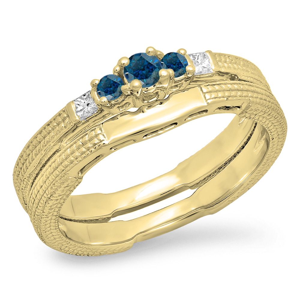 0.30 Carat (ctw) 14K Yellow Gold Round & Princess Blue & White Diamond Ladies 5 Stone Bridal Engagement Ring Matching Ba