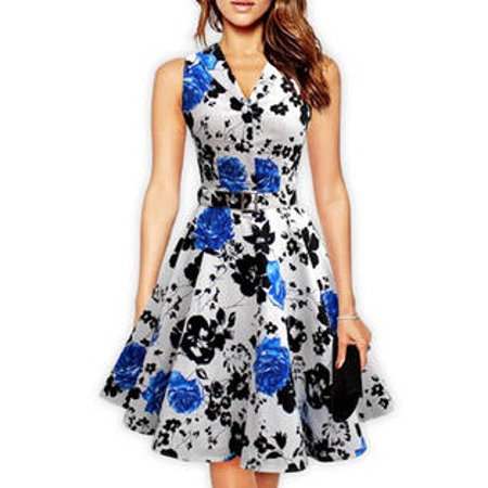 Blue Floral Dress (Unomatch Women Retro Embossed Collar Neck Floral Halter Dress with belt Blue)