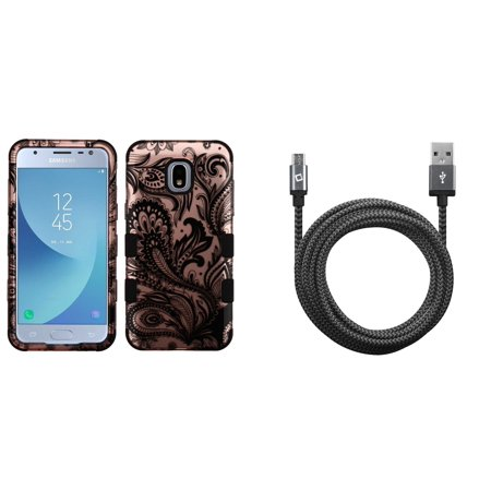 TUFF Hybrid Protective Phone Cover Case (2D Paisley Flowers) with Heavy Duty Braided Micro USB Cable (9 Feet / 2.7 Meters) and Atom Cloth for Samsung Galaxy Express Prime 3