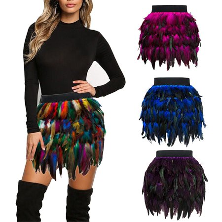 Women's Mid Waist A-Line Short Feather Skirt for Party Supply