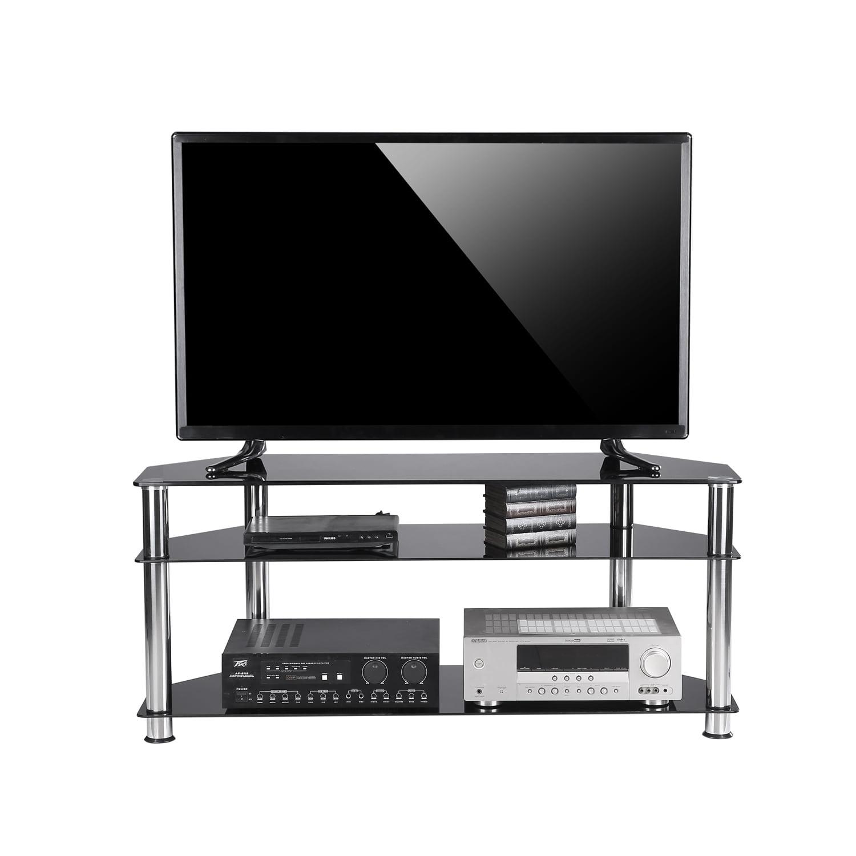 Rfiver Black Tempered Glass Corner Tv Stand Suit For Led Lcd Oled