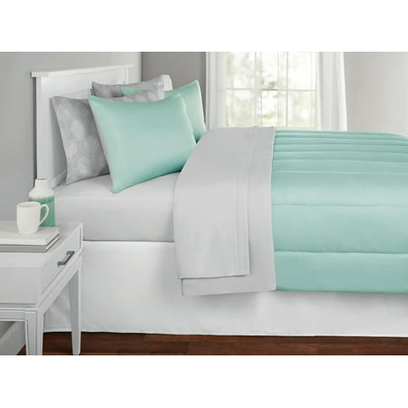 Solid Color Bed in a Bag Coordinating Bedding Set, Mint by Mainstays