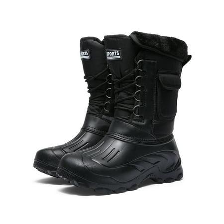 OwnShoe Men's Snow Boot Waterproof Warm Fur Lined Rain Booties Outdoor (Best Warm Rubber Boots)