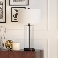 Rowan Table Lamp in Glass and Antique Brass with Linen Shade