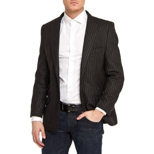 Elie Balleh Men's Slim Fit Pinstriped One-button Blazer Black, Small