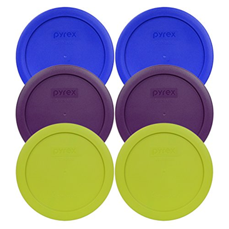 Pyrex 7201-PC Round 4 Cup Storage Container Lids for Glass Bowls (2-Light Blue, 2-Purple, 2-Edamame Green) ()