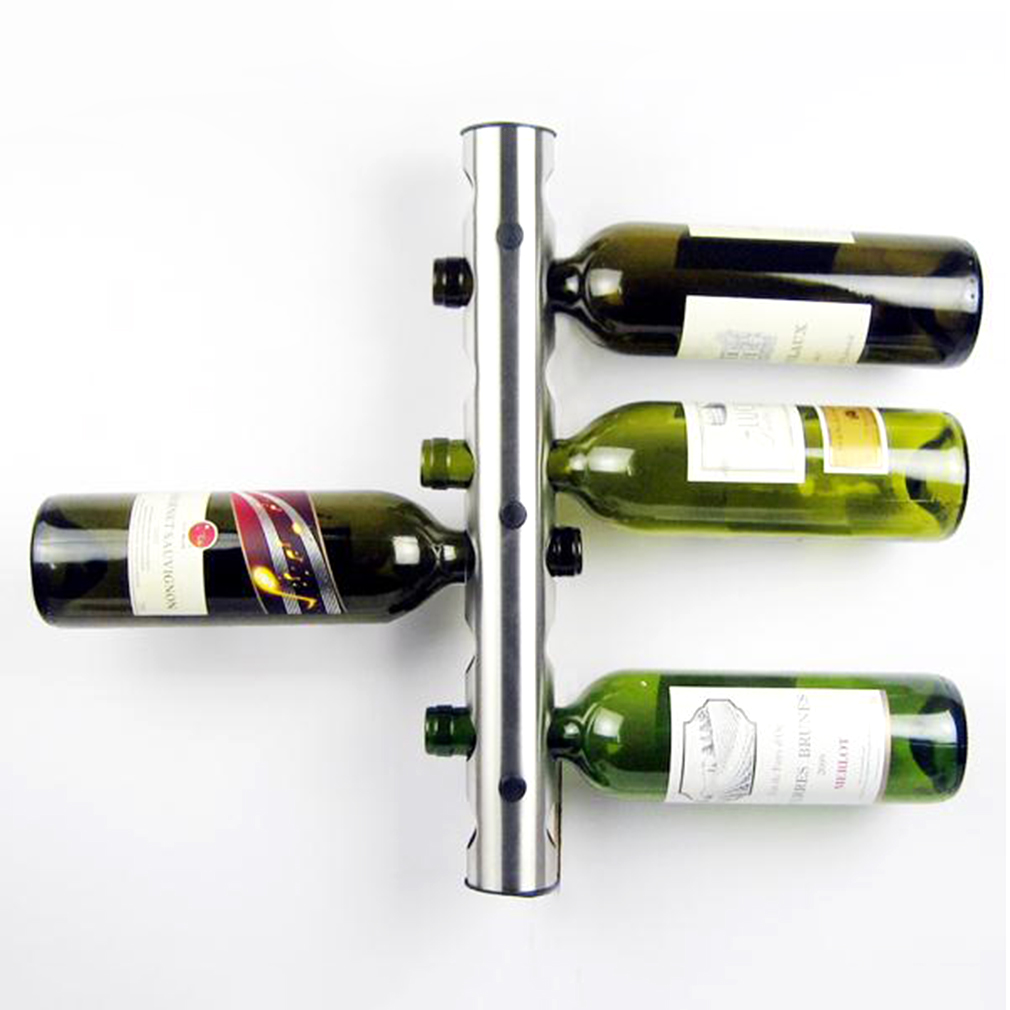 Stainless Steel Wine Rack Wall Mounted Home Red Wine Display For 8 Bottles by